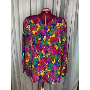 80s abstract floral blouse sz 24w